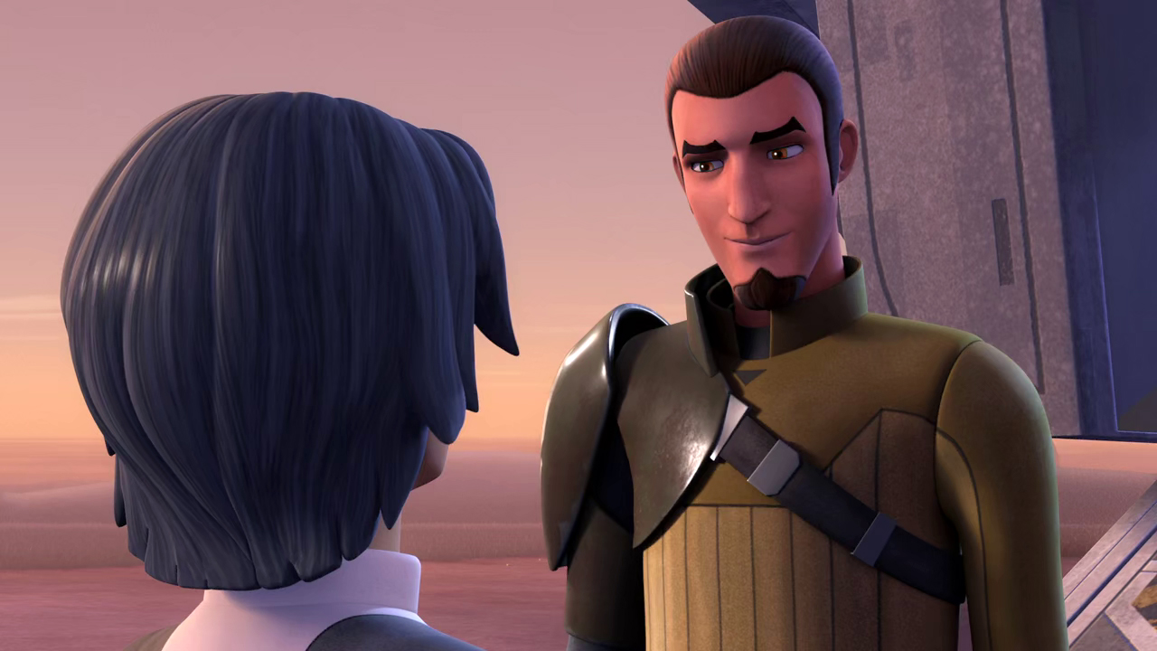 Screenshot of Kanan smiling softly at Ezra after his return to the Ghost.