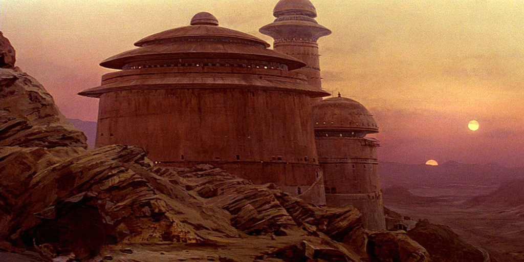 Jabba's palace with Tatooine's twin suns setting in the background.