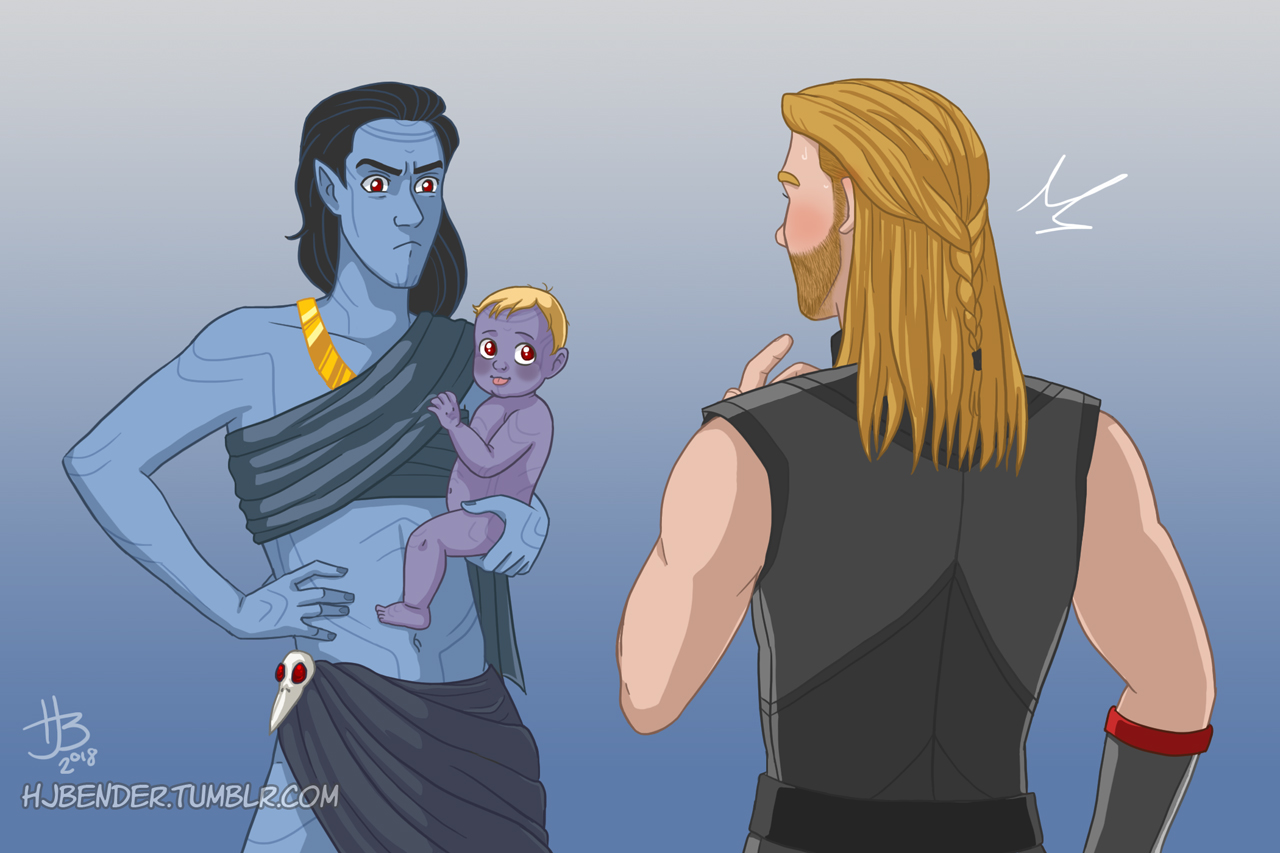 Jotunn Loki scowling at Thor with a happy baby on his hip